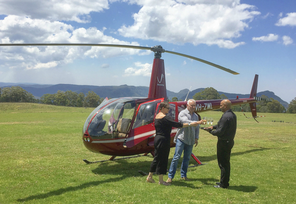 Helicopter transfer to races